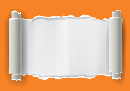 ripped paper: Orange Ripped Paper Frame. Illustration of orange ripped paper with place for your image or text. Vector available.