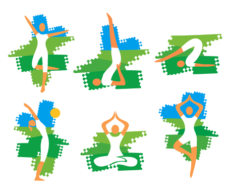 Yoga fitness icons on grunge background. Set of yoga fitness symbols on the grunge background. Vector available.