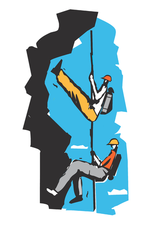 Two climbers on a rope cartoon Two climbers in the rocks.Stylized Illustration imitating linocut. Vector available.