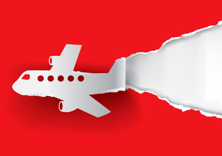 Red Airplane ripping paper. Place for your text or image.  Vector available.  イラスト・ベクター素材