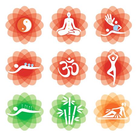 buddhismus: Yoga massage alternative medicine icons. Set of massage, yoga, spa icons on the decorative backgrounds . Available.