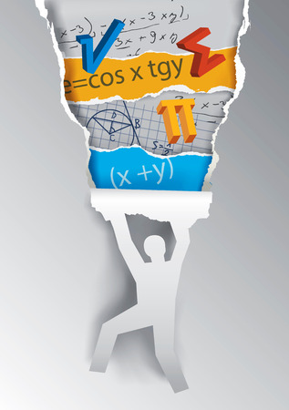 Discover mathematics education concept. Human silhouette ripping paper with mathematics symbols and notes.  available.