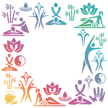 bamboo therapy: Spa Massage colorful Decorative Frame. Rainbow-colored decorative frame with  icons of massage and spa. Vector available.