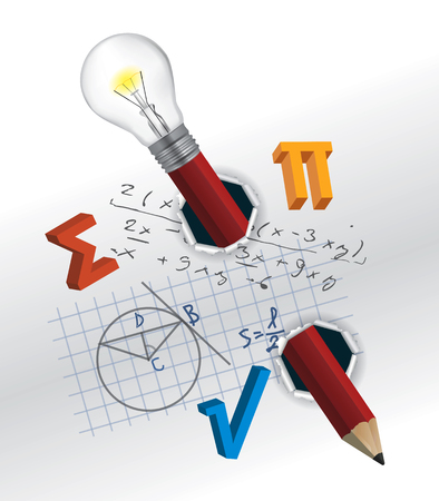 Playful mathematics concept. Torn paper with mathematics formulas and pencil.Vector available. Illustration