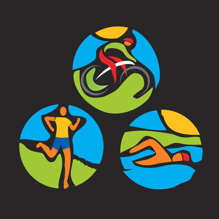 Triathlon race icons. Stylized drawing of Three triathlon athletes. Vector available.