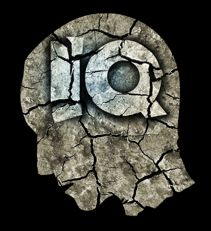symbolized: Dementia Intelligence Quotient Concept.Photo-montage with Dry cracked earth and Male head with Intelligence quotient symbol symbolized dementia and declining intelligence.