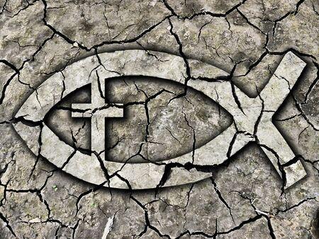 pez cristiano: El símbolo cristiano de los pescados en la tierra agrietada. Textura seca de la tierra agrietada con Christian symbol.Concept peces que simboliza una fe cristiana débil. Fotomontaje. Foto de archivo