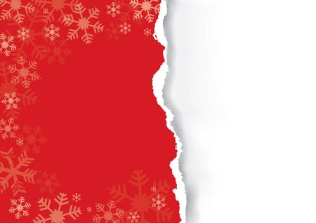 Red Ripped christmas paper. Red grunge snowflakes  with torn paper with place for your text or image. Vector available.