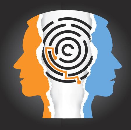 esquizofrenia: cabezas masculinas silueta esquizofrenia depresión. Hombre de papel rasgado dirige siluetas con laberinto. Concepto que simboliza la resolución de la depresión, la esquizofrenia. Vector disponible. Vectores