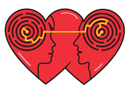 Psychologie der Liebe. Paar Köpfe Silhouetten mit Labyrinth zwischen Mann und Frau als Symbol für das Verständnis. Vector verfügbar