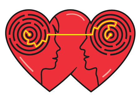 strife: Psychology of love. Couple heads silhouettes with maze symbolizing understanding between man and woman. Vector available Illustration