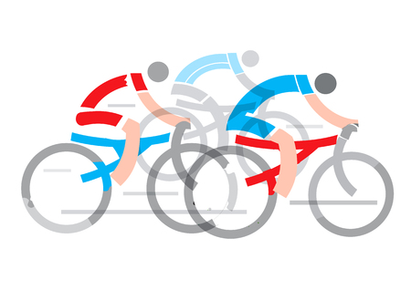 challenger: Road Cycling race. Stylized drawing of cyclists, isolated on the white background. Vector available.