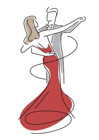 젊은 커플 춤. 형형색색의 젊은 부부 댄스 볼룸 댄스의 그림을 양식에 일치시키는. 벡터 사용할 수 있습니다.