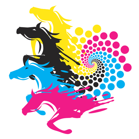 four color printing: Horses With Print Color Circle. Four Running horses with the circle of the print colors. Concept for presenting of color printing. Vector available.
