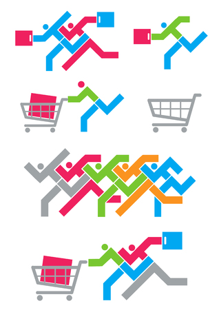 shopping spree: Shopping Spree icons. Colorful Illustration of set of Shopping Spree icons.Vector available.