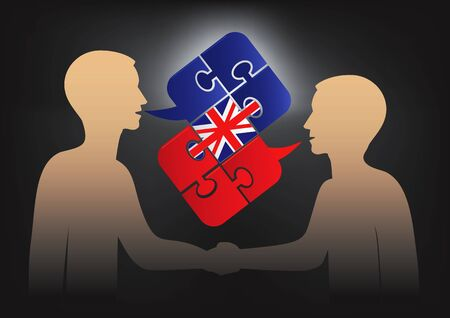 british english: Business English dialog. Two men and Puzzle bubble talk with a British flag symbolizing English conversation.Vector available. Illustration