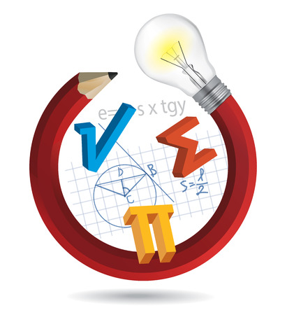 Funny math concept. Illustration of colorful twisted pencil with a light bulb and math symbols. Vector available. Ilustração
