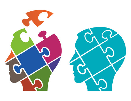 stupidity: Puzzle male heads symbolizing Psychology. Two Puzzle heads silhouettes symbolizing Psychology, psychological problems.Vector available.
