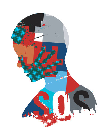 SOS violence war. Human head silhouette with hand print on the face symbolizing violence in the world. Vector available.