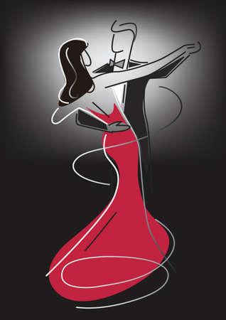 Pareja de baile de salón. Dibujo estilizado de baile de salón de baile de pareja joven. Vector disponible.