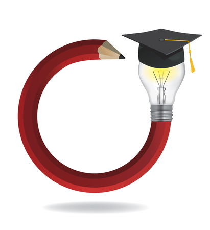 creator: Idea pencil with Graduation cap. Illustration of red twisted pencil with a light bulb and Graduation hat cap available.