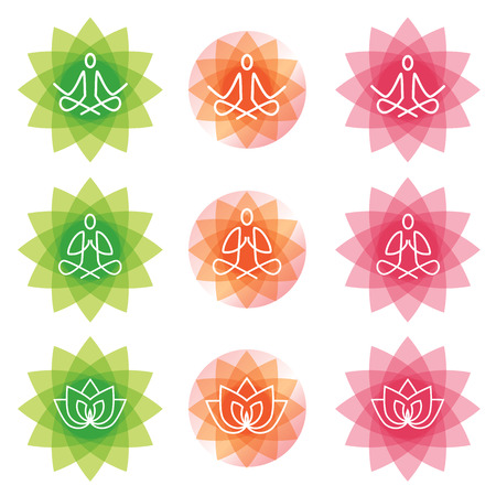 Yoga line art icons. Yoga line art icons set on the decorative background. Modern symbols for infographics or web use. Vector available. Illustration