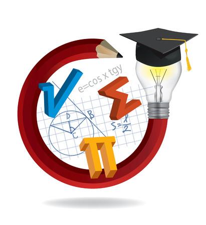 Crayon d'idées avec casquette de graduation et symboles mathématiques. Illustration d'un crayon rouge tordu avec une ampoule, un chapeau de graduation et des symboles mathématiques. Vector disponible.