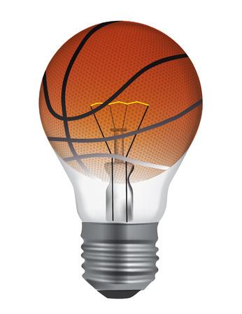 巧妙なバスケット ボールの記号です。バスケット ボールをプレイするスマートな方法を象徴する電球。ベクトルの利用