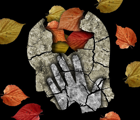 schizophrenia: Dementia depression old age. Stylized male head silhouette holding his head.Photo-montage with Dry cracked earth and autumn leaves symbolizing Depression, old age, dementia.