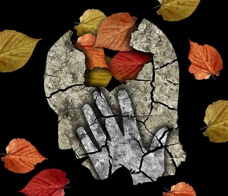esquizofrenia: depresión demencia vejez. Estilizada silueta de cabeza masculina sosteniendo su head.Photo-montaje con tierra seca y agrietada hojas de otoño y que simbolizan la depresión, la vejez, la demencia.