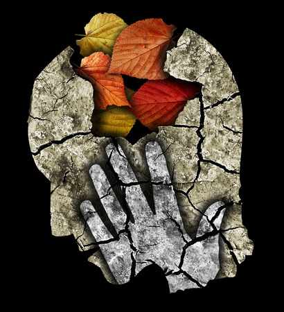 retardation: Dementia Depression Old Age.. Stylized male head silhouette holding his head.Photo-montage with Dry cracked earth and autumn leaves symbolizing Depression, old age, dementia.