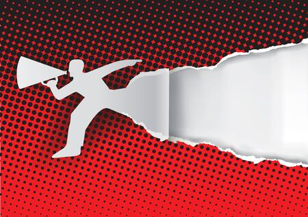 Promotion Man ripped paper with halftone patern. Man advertises or sells shouts in a megaphone. Place for your text or image. Template for a original advertisement.Vector available