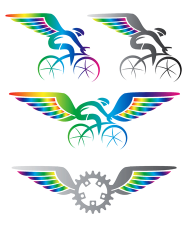 health and fitness: Cycling with wings. Colorful  cycling icons with rainbow colored wings. Vector available.