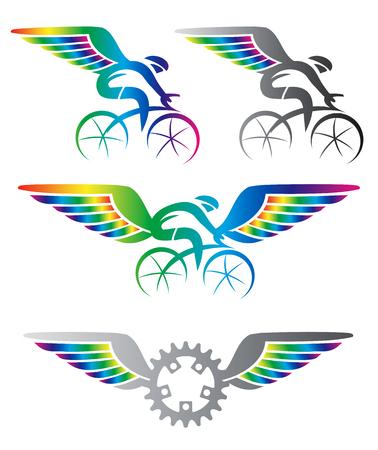 forme et sante: Faire du vélo avec des ailes. Des icônes de cyclisme colorées avec des ailes de couleur arc-en-ciel. Vector disponible.
