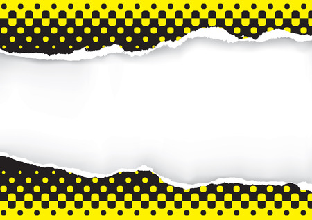 halfone: Black yellow ripped paper background. Illustration of ripped paper with black and yellow halftone. Place for your image or text. Vector available.