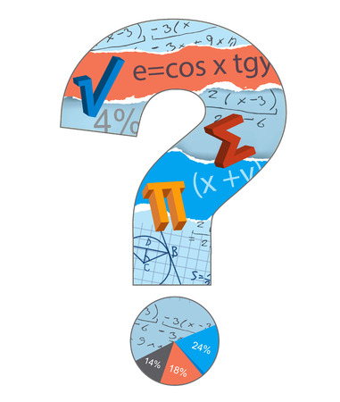 Math Question Mark Mathematics symbols inside the question mark on the white background. Vector available.