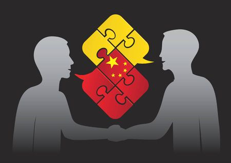 pronunciation: Learn Chinese business dialog. Two men and Puzzle bubble talk with a chinese flag symbolizing Chinese conversation. Illustration