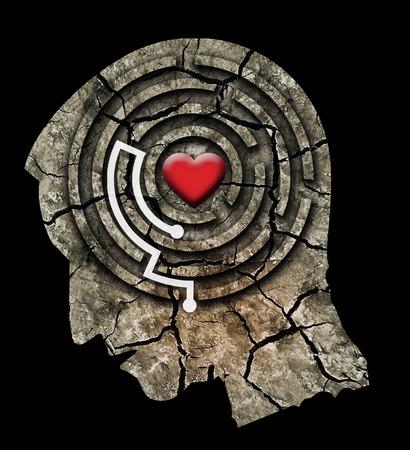 Aimez-vous le concept. Silhouette de tête masculine stylisée avec un coeur dans un labyrinthe. Montage photo avec de la terre fissurée sèche.
