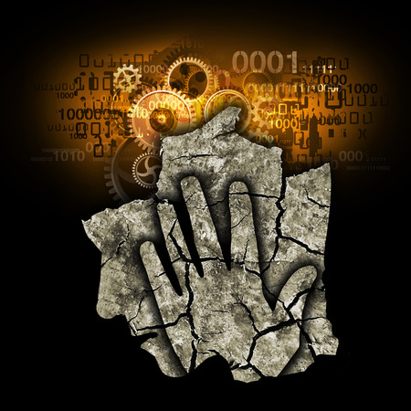 retardation: Digital Demention Burnout Syndrome. Stylized silhouette of Man holding his head. Blue photo-montage with Dry cracked earth and gear and binary codes symbolizing digital dementia Stock Photo