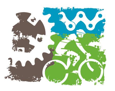マウンテン バイク グランジ背景。自転車と自転車パーツのカラフルなグランジ背景。使用可能なベクトル。