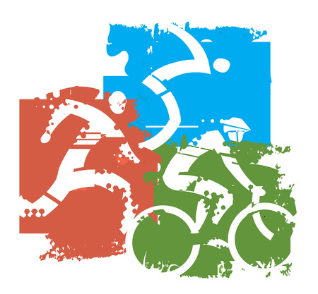Triathlon race icons. Stylized icons of Three triathlon athletes on the grunge background.Motive for T-shirt. Vector available.
