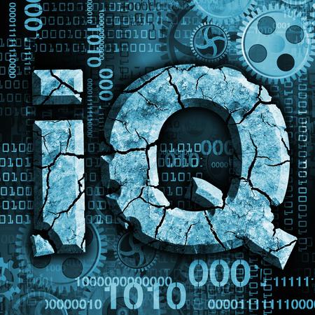 retardation: Digital Demention Background. Photo-montage of ruined sign IQ symbolizes dementia, declining intelligence. Stock Photo