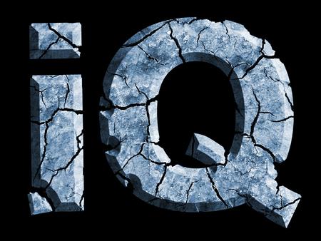 Cracked Symbol Intelligence Quotient. Photo-montage of ruined sign IQ symbolizes dementia, declining intelligence.