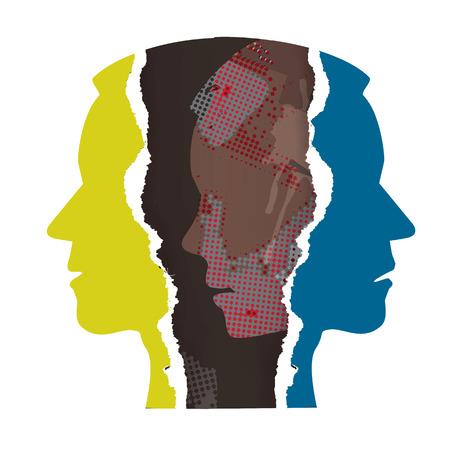 Ripped paper Male head silhouettes. Concept symbolizing schizophrenia, dementia, depression.