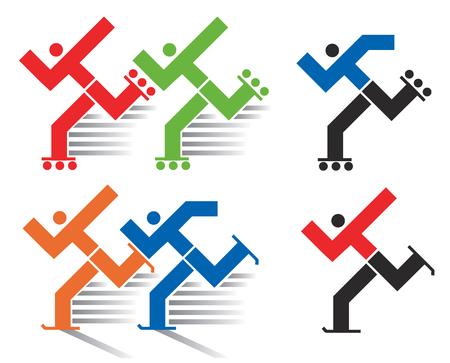 Speed skating en inline skating iconen. Kleurrijke en zwarte symbolen van inline en schaatsen.