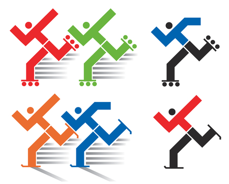 Speed skating and  inline skating icons. Colorful and black symbols of inline and ice skating.