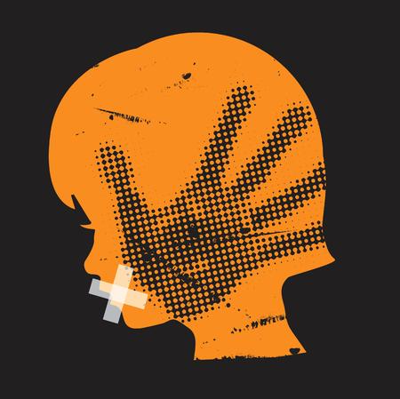 Violência doméstica infantil. Silhueta de grunge pequena garota com mão imprimir no rosto e com a boca gravada. Vetor disponível. Ilustración de vector