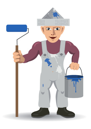 Room painter with paint roller.  Man with paint roller, paper cap and a bucket of color.Vector available. Illustration