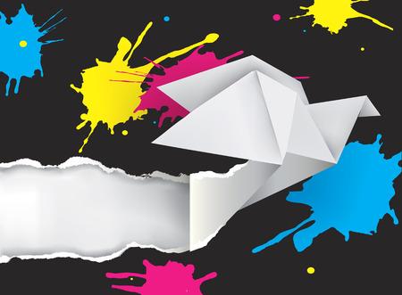 折り紙は、インクの飛散と鳩。折り紙の図は、印刷色の紙をリッピング鳩。カラー印刷機を提示するための概念。ベクトルの利用