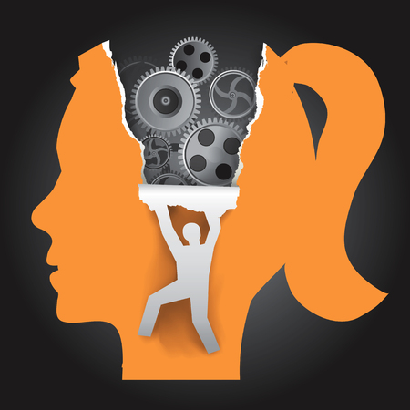woman male: Discover Woman Psychology Stylized Female head in profile with gear and male silhouette ripping paper background. Vector available.